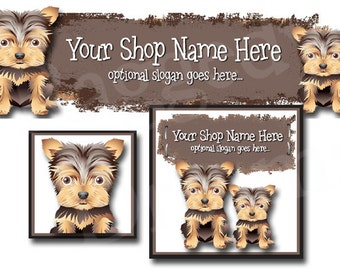 Premade Etsy Cover Photo - Large Etsy Banner - Premade Etsy Shop Banner - SHOP ICON - Shop Profile - Cute Puppy Dogs - Yorkie - Pets