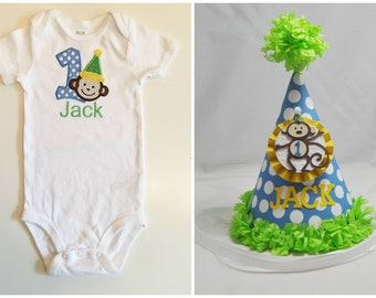 Boy Monkey 1st Birthday Shirt Bodysuit & Party Hat Set- Personalized
