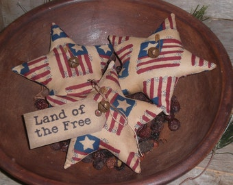 3 - Primitive - Patriotic - Americana - Land of the Free - USA - July 4 - Flags - Stars - Ornies - Ornaments - Bowl Fillers - Tucks