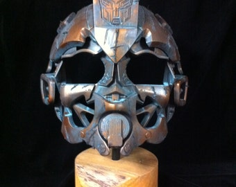 Museum Mounted Bronze Bumblebee Helmet Display Stand Patina bronze Transformers