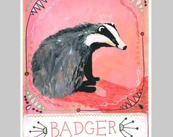 Animal Totem Print - Badger