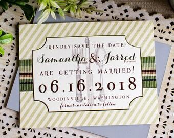 Vintage Menu Wedding Save the Date Card - foodie wedding - farm to table wedding - foodie save the date-greenery save the date - food lovers