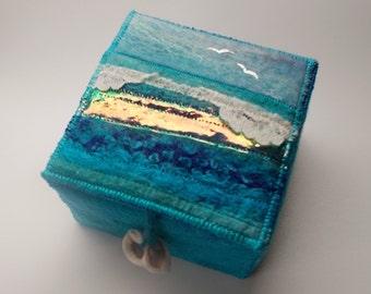 Felt Seascape Trinket Box with Shell