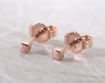 2mm Square Stud Earrings 14k Teeny Tiny Rose Gold Studs by Susan SARANTOS
