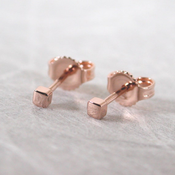 2mm square stud earrings 14k teeny tiny gold studs by
