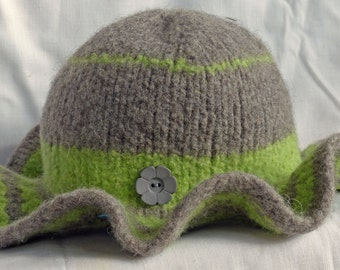 Grey and lime green felted 100% wool hat with dramatic brim Summer Sale!