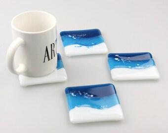 Fused Glass Coasters , Home Decor Housewares Set of 4  Fused Glass Art  Hostess Gift  Home Decor, GetGlassy