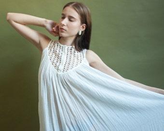 grecian white gauze trapeze  swing dress / cotton cut out bib dress / summer sun dress / s / 1984d / B3