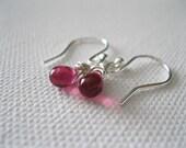 Pink Earrings. Dark Pink Teardrop Earrings. Sterling Silver Earrings. Fuchsia Briolette Earrings. Contemporary Pink Fashion Jewellery UK