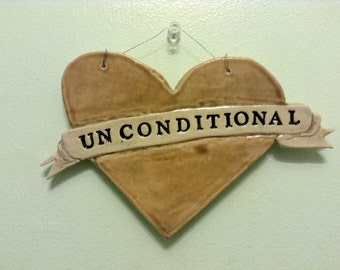 Unconditional Love hanging heart tile
