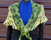 Buttercups In The Meadow Hand Knitted Wool Shawl Wrap in Green Gold Yellow OOAK Original Design Creation