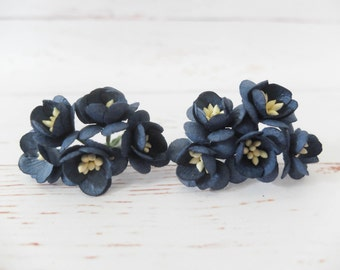 """10 1"""" midnight blue paper cherry blossoms - mulberry paper flowers with wire stems"""