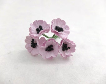 Light purple paper flowers - 10 Mulberry paper poppy