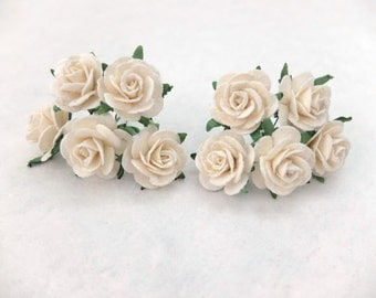 10 25mm off white mulberry roses - paper flowers