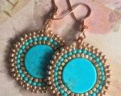 Small Seed Bead Disk Earrings Turquoise Dyed Howlite Handmade Beadwork Jewelry Beaded Earrings