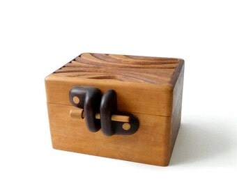 SUMMER SALE Modernist Carved Wood Box  Mid Century Modern California Design