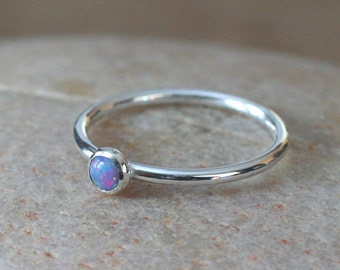 Purple Opal Stacking Ring Sterling Silver Ring, Size 2 to 15, October Birthstone, Womens Ring, Womens Ring, Simulated Opal, Gifts for Her