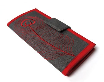 MADE TO ORDER | Womans Wallets | Long bifold wallet | Embroidered Red Peacock Feather | Modern womens wallet | Gifts for women