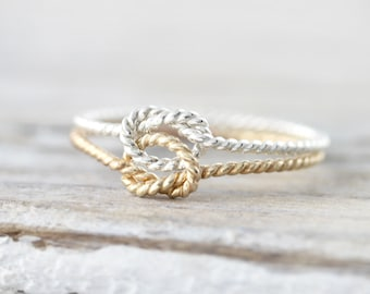 Twisted double knot ring - silver or yellow gold filled ring - promise ring