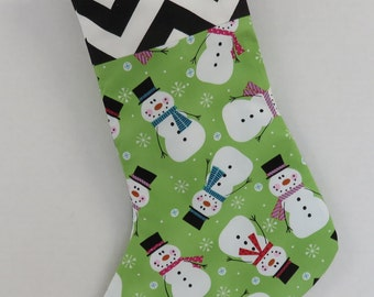 READY TO SHIP - Clearance - Sale - Christmas / Holiday Stocking -   Whimsical Snowmen and Black / White Chevron Fabrics