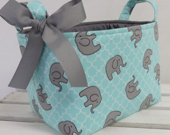 Fabric Organizer Bin Toy Storage Container Basket -  Sweet Gray Elephants on  Aqua and White