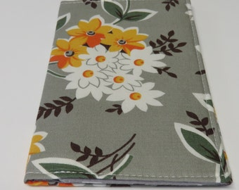 SAMPLE SALE - Checkbook Cover - Orange and White Flowers Floral on Gray - Flea Market Fancy Fabric