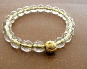 Gold Center Crystal  Faceted Glass Bead Stretch Bracelet Gold Bali Bead Stacking Bracelet b 126