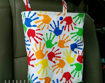 Finger Paint Handprints - Reusable Auto Trash Bag from green by mamamade