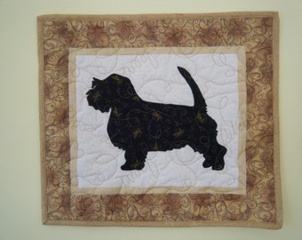 SALE--- PBGV  petit basset griffon vendeen - Quilted Mini Dog Wall Hanging 17 x 15