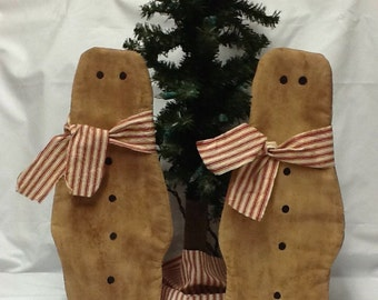 Primitive Doll, Early Settlers, Christmas, Gingerbread Flatties ready to ship