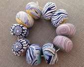 Zebra Pansy Mix Disk Beads 12-14mm