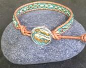 Charleston  Leather Wrap Bracelet Beaded  Vintage Map Button South Carolina Atlas ON SALE