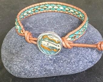 Charleston  Leather Wrap Bracelet Beaded  Vintage Map Button South Carolina Atlas