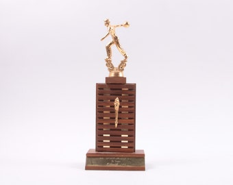 Vintage 1967 Bowling Trophy Wooden with Medal Topper
