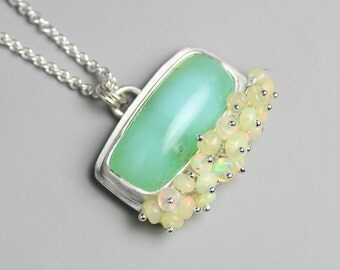 Chrysoprase Silver Necklace with Ethiopian Opal Fringe