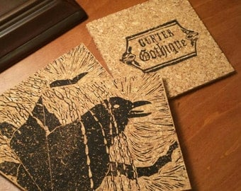 Raven in the Willows - block print coasters - set of 4