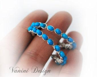 Turquoise,fine/sterling silver hoop earrings