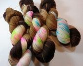 Hand Painted Ultra Merino Superwash Sock Fingering Yarn -- Speckled -- Coffee and Donuts
