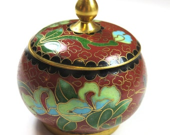 SJK Vintage -- Chinese Cloisonne Enamel Floral Trinket Box, Lidded Jar (1950's-60's)