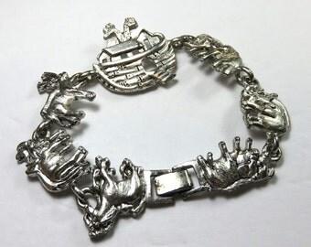 SJK Vintage -- Silver Colored 1995 BG Signed Noah's Ark Charm Bracelet (1990's)
