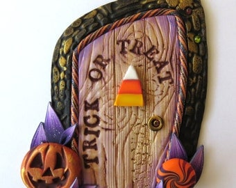 Trick or Treat Halloween Fairy Door, Polymer Clay Pixie Portal, Halloween Decor