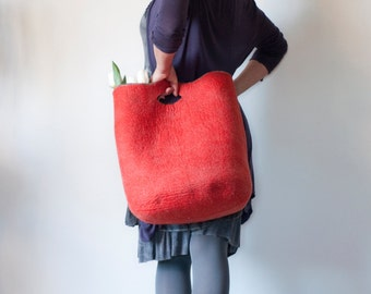 MEDIUM SIZED Red Sturdy Everyday Art Bag / Carryall / Tote / Basket / Shopping / Market / Picnic / Hand felted wool / Wearable Art