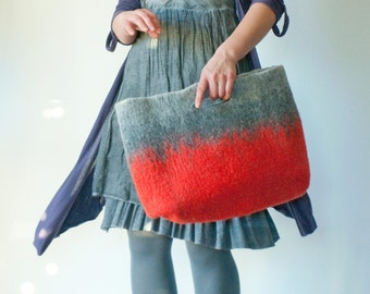 SMALLER Red Sturdy Everyday Art Bag / Carryall / Tote / Basket / Shopping / Market / Picnic / Hand felted wool / Wearable Art
