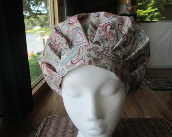 Dream in Paisley Bouffant Style...............Surgical Hat....Bakers Hat