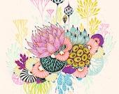 Art Print, Botanical Art Print, Wall Art, Giclee Print, Floral Print - Nestle
