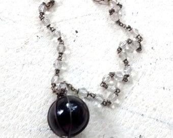 Charm art necklace with  vintage marble vintage rosary repurposed necklace black stones boho