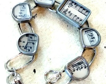 Antique Music Sheet Bracelet Typewriter Keys