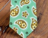 Boys green paisley cotton necktie - rustic brown gold paisley floral boys necktie, childs necktie, little boy necktie, baby necktie, wedding