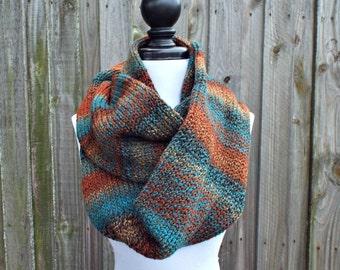 Double Knit Infinity Scarf Womens Knit Circle Scarf - Chocolate Brown Rust Teal Scarf - Chunky Scarf Womens Accessories Fall Fashion
