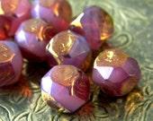 Wysteria Opal (10) -Czech Glass Central Cut Rounds 9mm